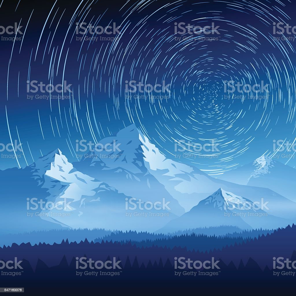 Mountain landscape with stars on a long exposure vector art illustration