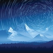 Mountain landscape with stars on a long exposure