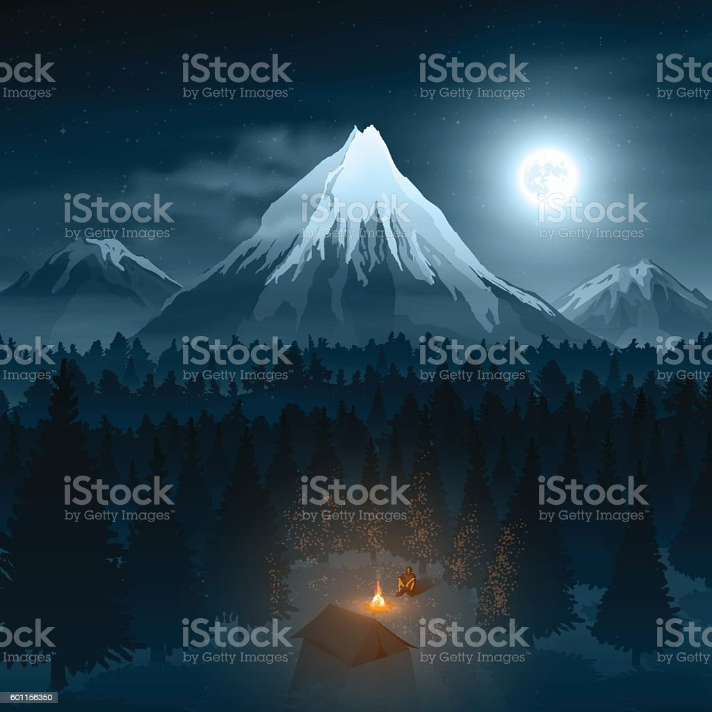 Mountain Landscape with the Traveler in Deep Forest vector art illustration