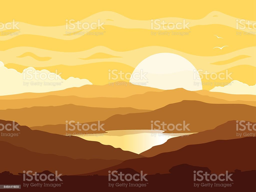 Mountain landscape with yellow sunset vector art illustration