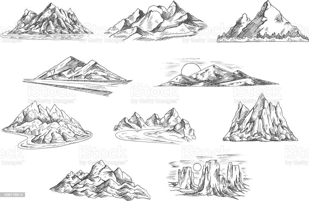 Mountain landscapes sketches for nature design vector art illustration