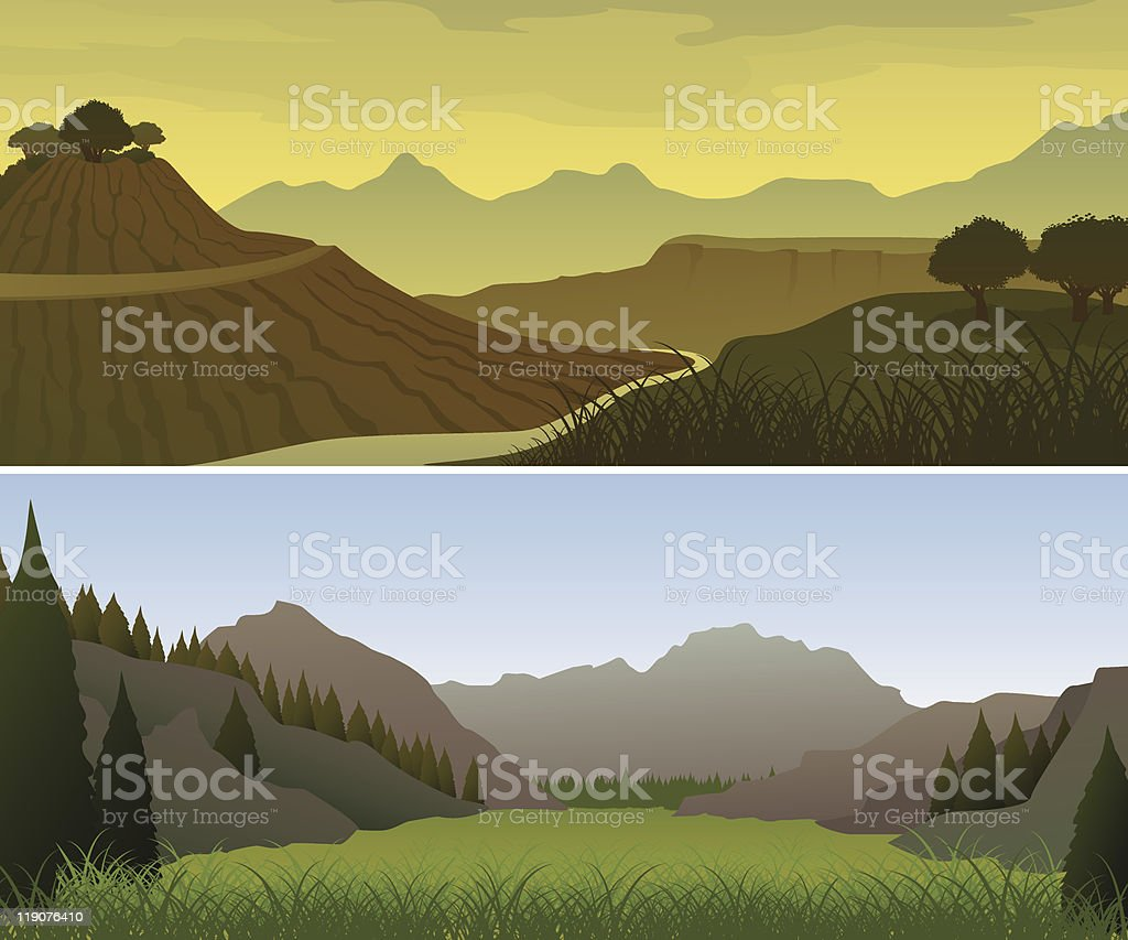 Mountain landscapes royalty-free stock vector art