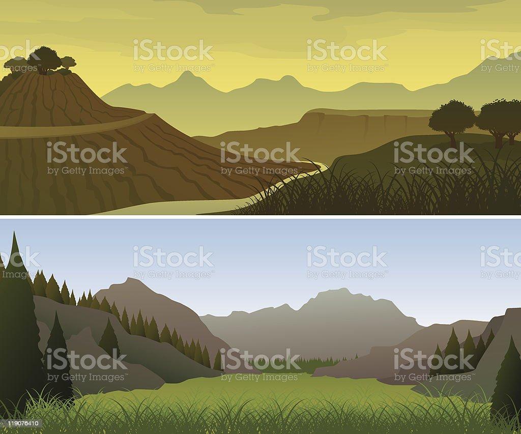 Mountain landscapes vector art illustration