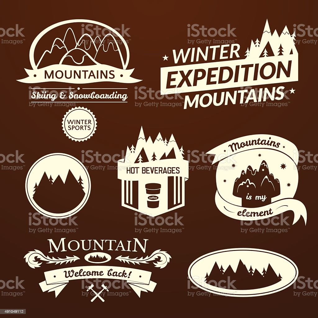 Mountain logo and label set vector art illustration