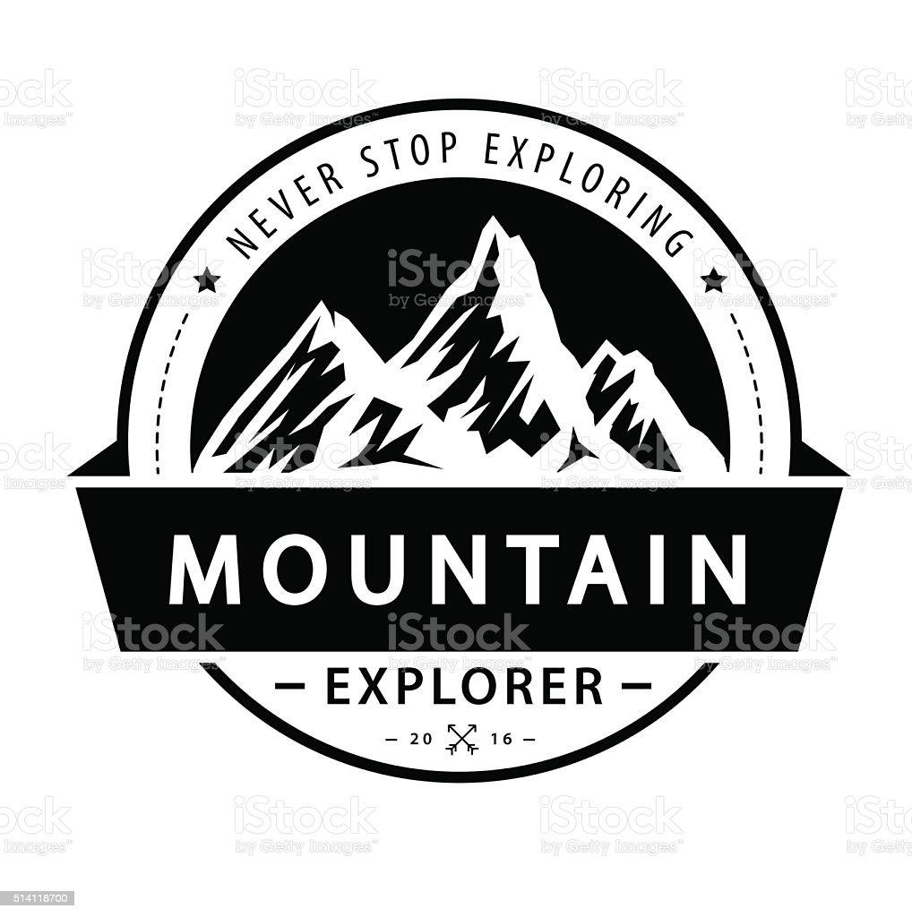 Mountain logo emblem. Adventure retro vector illustration. vector art illustration