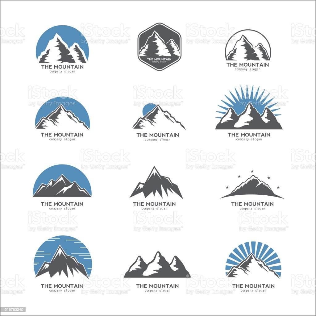Mountain logo, icon vector art illustration