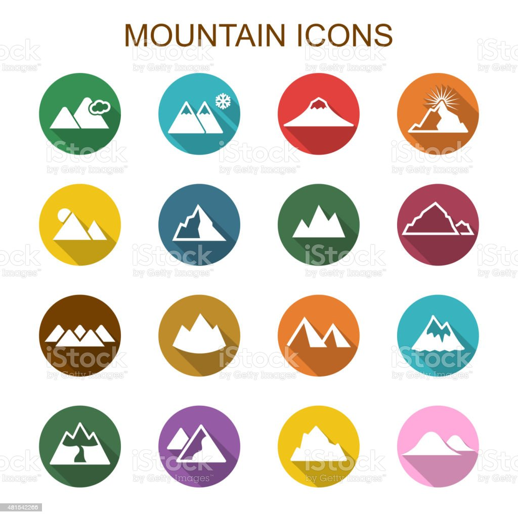 mountain long shadow icons vector art illustration