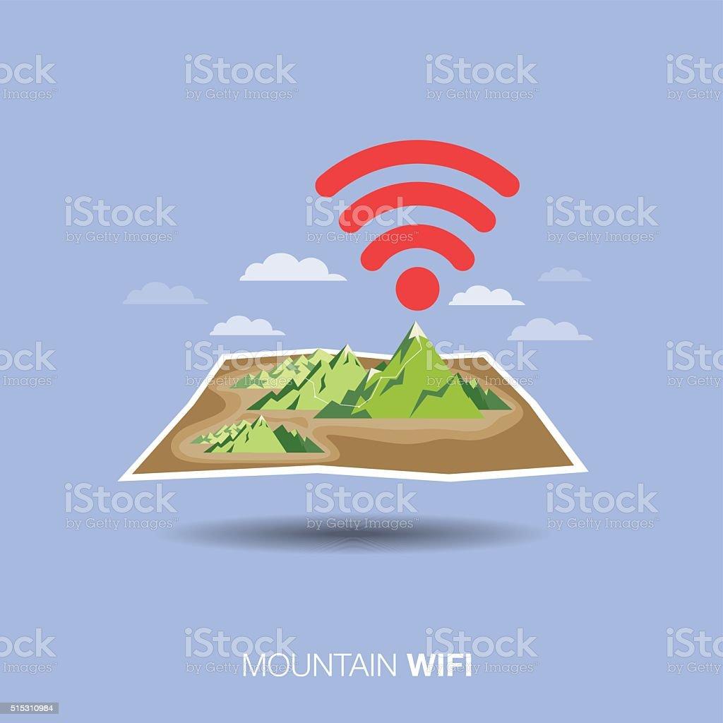 mountain map, wifi , flat design icon vector art illustration