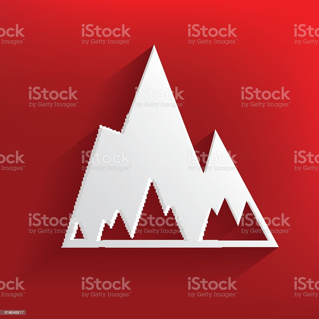 Mountain on red background,clean vector vector art illustration