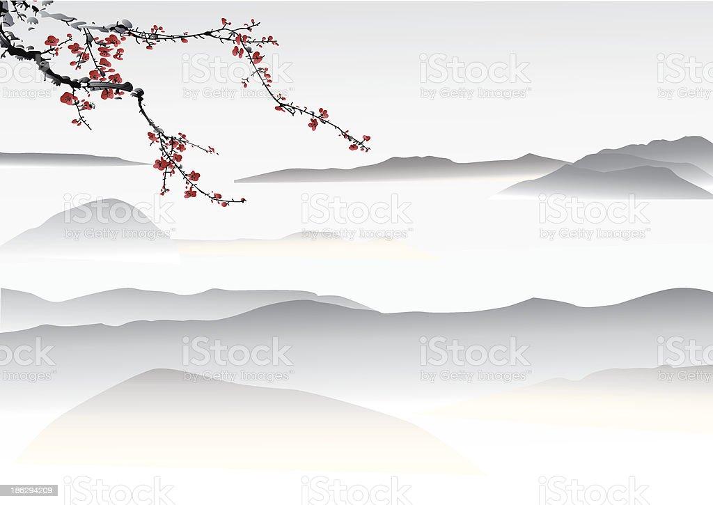 mountain painting vector art illustration