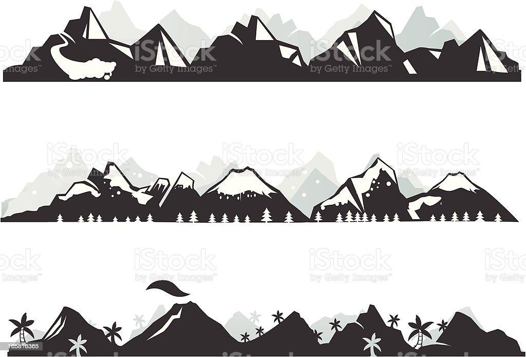 Mountain panorama vector art illustration