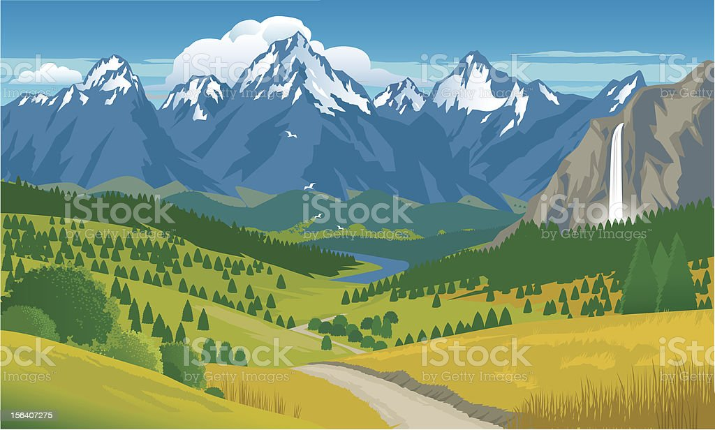 Mountain Panorama with Waterfall vector art illustration