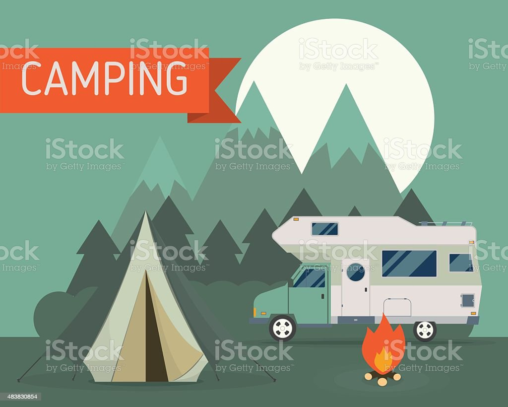 Mountain Park Camping with RV Traveler Truck vector art illustration
