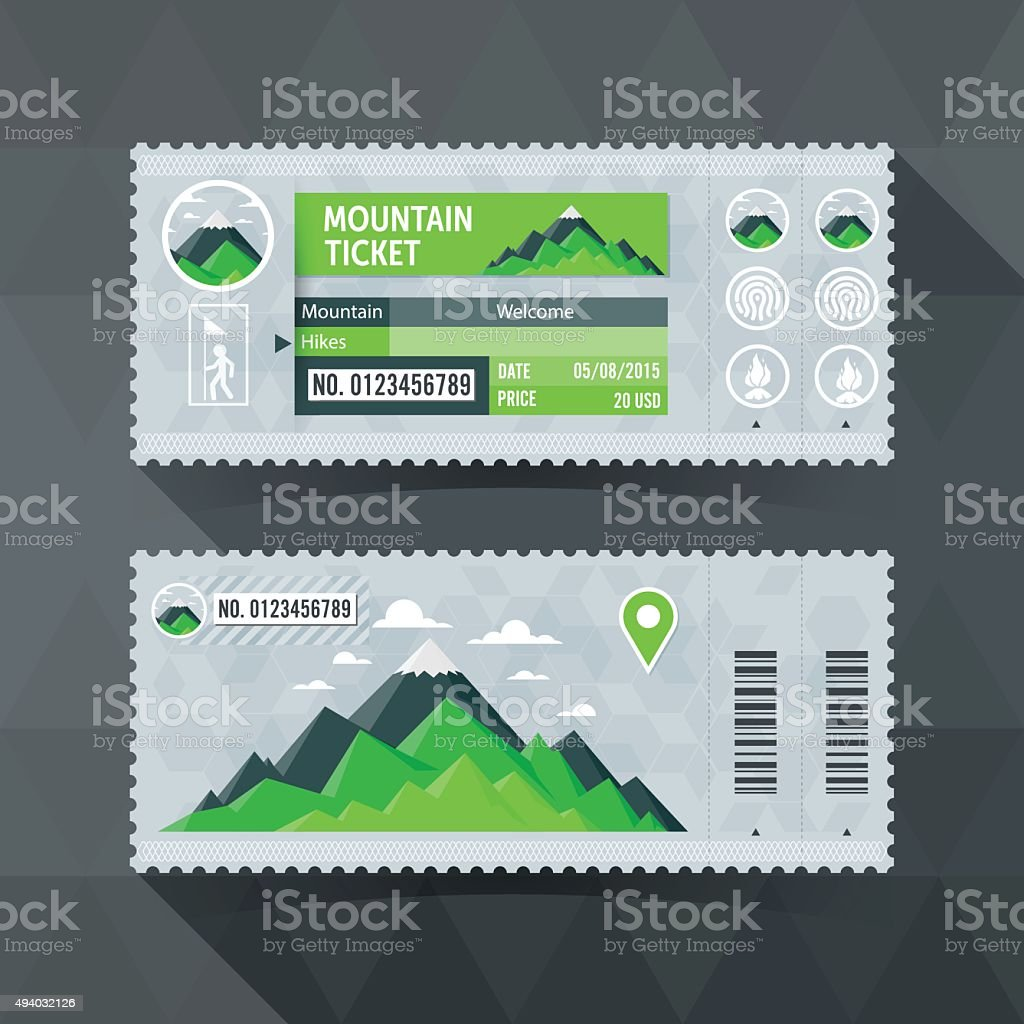 Mountain Park Travel Ticket Card. modern element design. vector art illustration