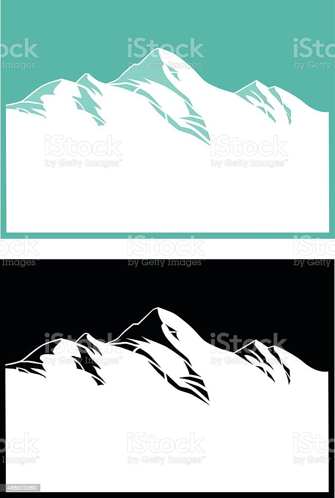 Mountain Range in Blue and Black vector art illustration