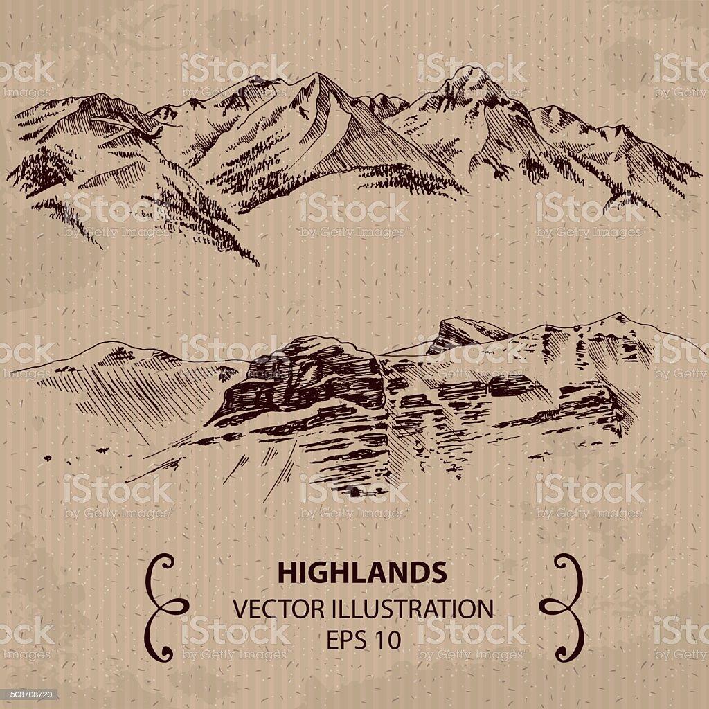 Mountain range vector art illustration