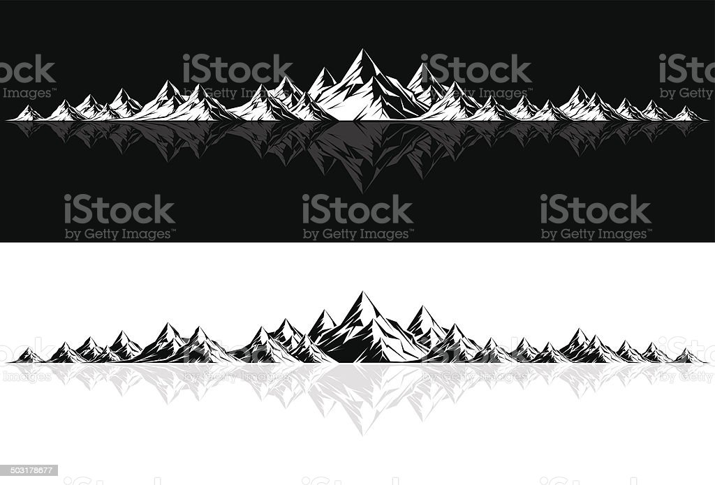 Mountain Range with Reflection vector art illustration