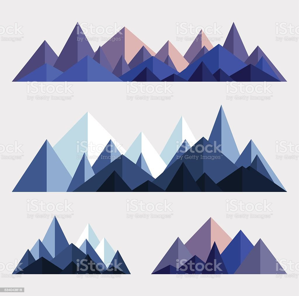 Mountain ranges in polygonal style vector art illustration