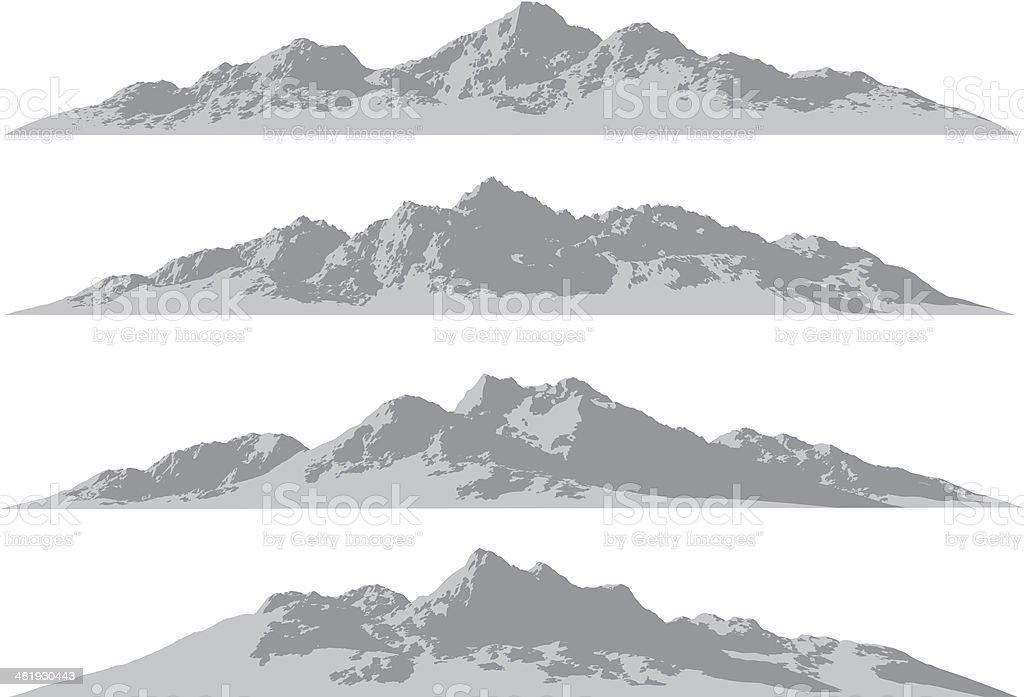 Mountain ranges vector art illustration