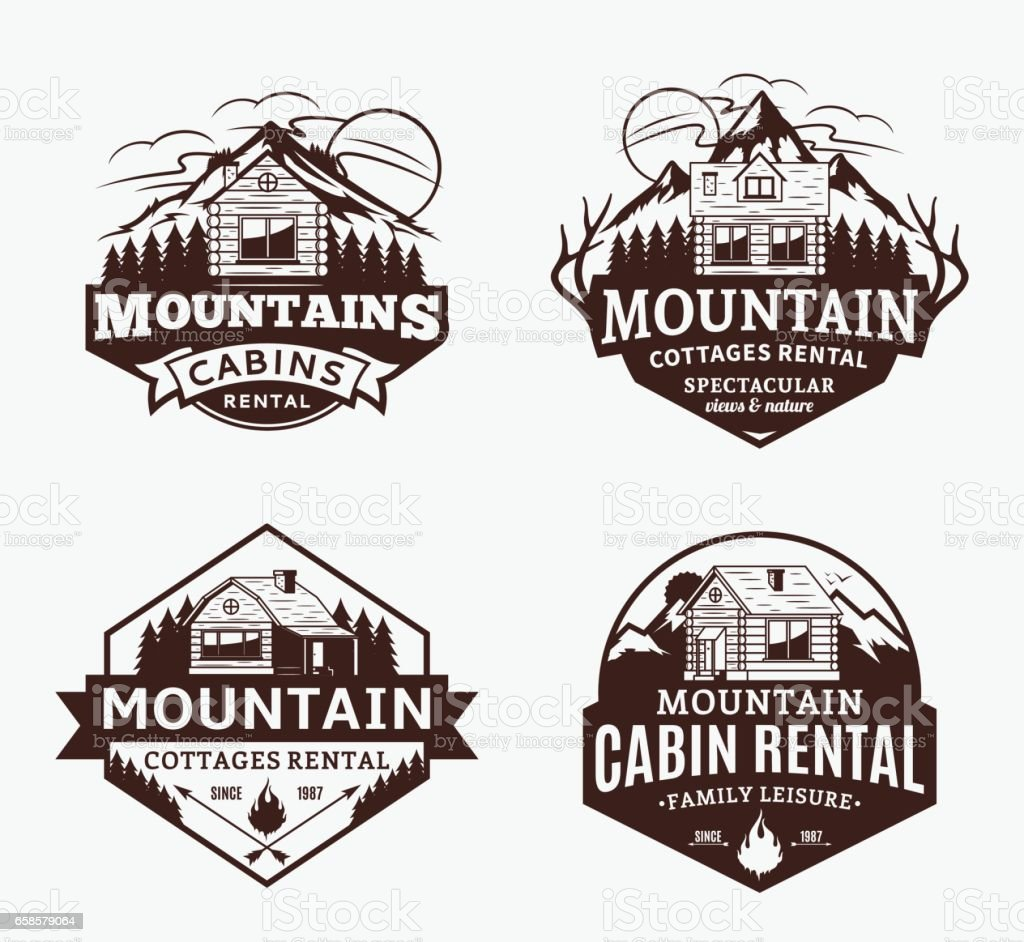 Mountain recreation and cabin rentals labels vector art illustration