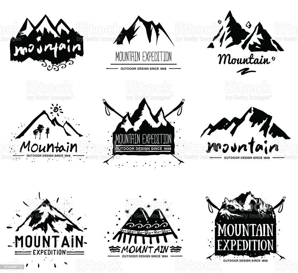 Mountain retro illustration. vector art illustration