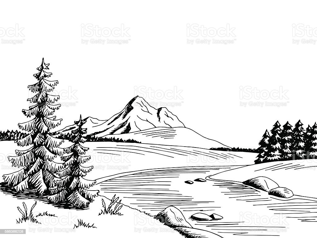 mountain river graphic art black white landscape sketch