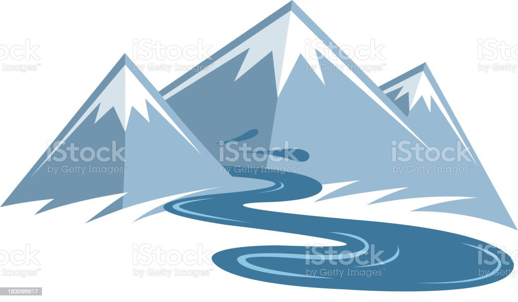 mountain river vector art illustration