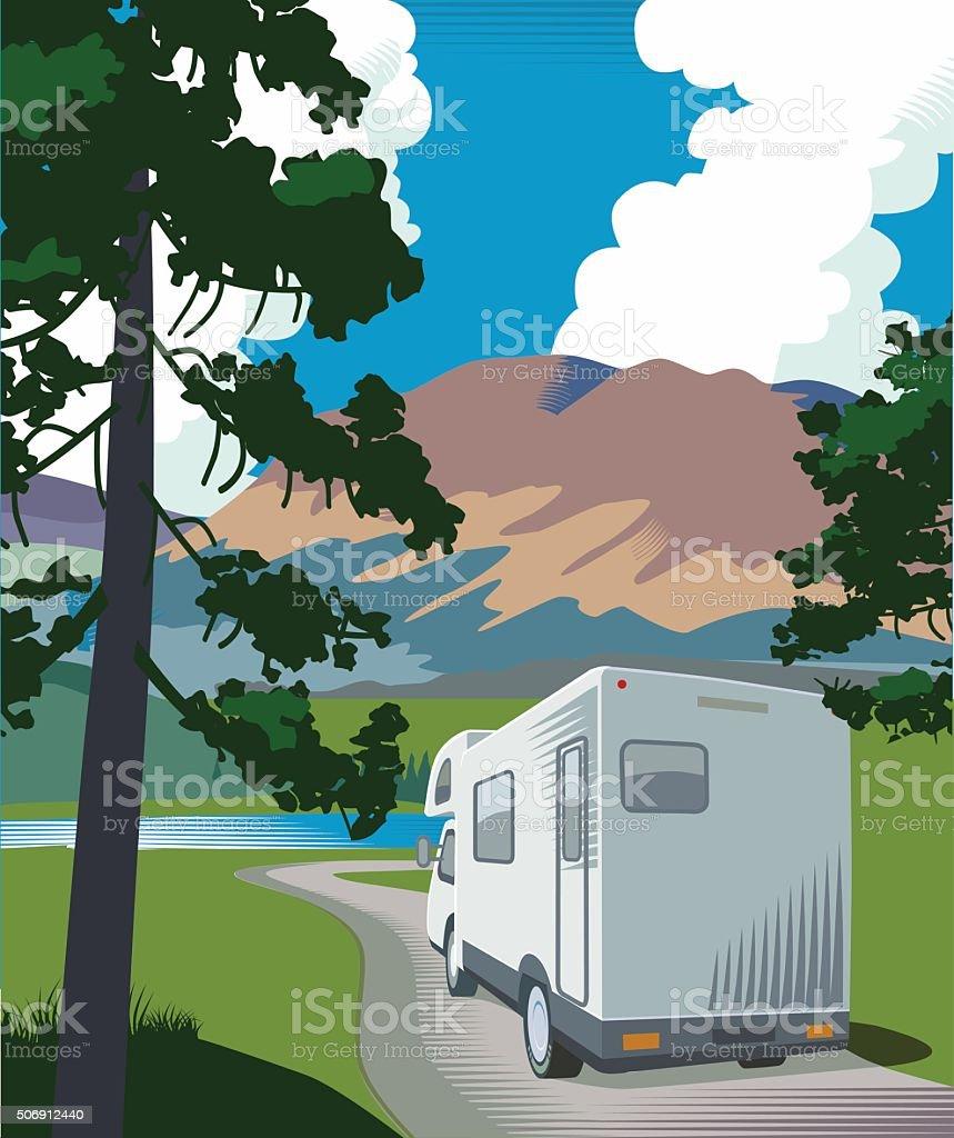 Mountain road and motorhome vector art illustration