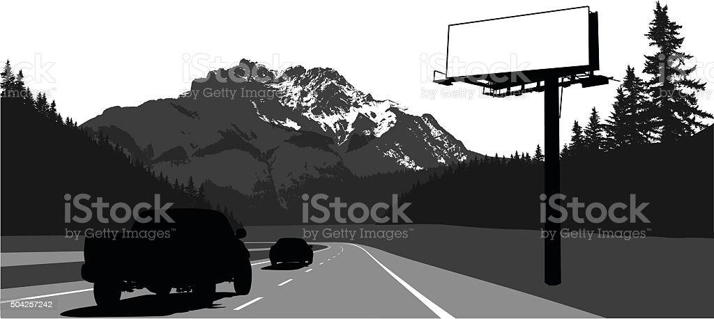 Mountain Road Billboard Advertisement vector art illustration