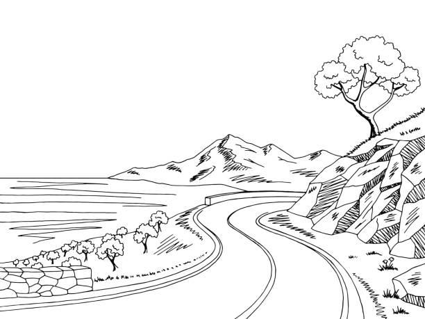 Cartoon Of Black White Mountain Clip Art, Vector Images