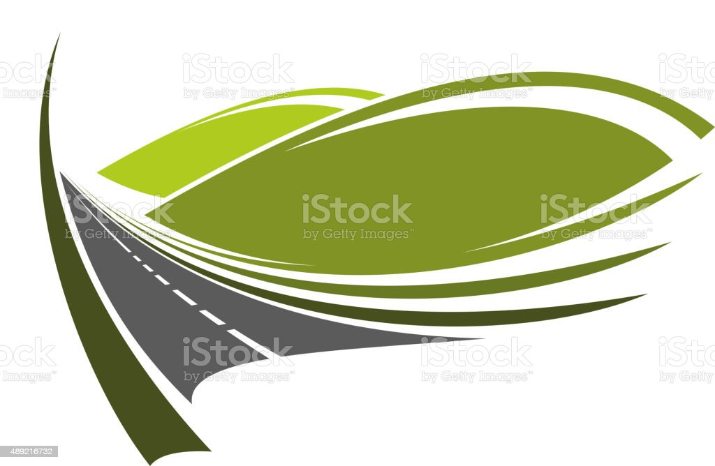 Mountain road passes through valley with hills vector art illustration