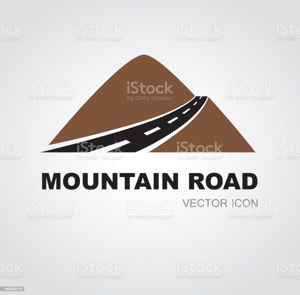 Mountain road sign vector art illustration