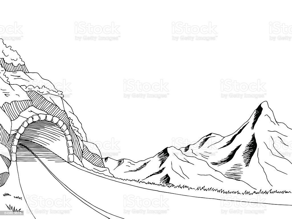 Mountain road tunnel graphic black white landscape sketch illustration vector vector art illustration
