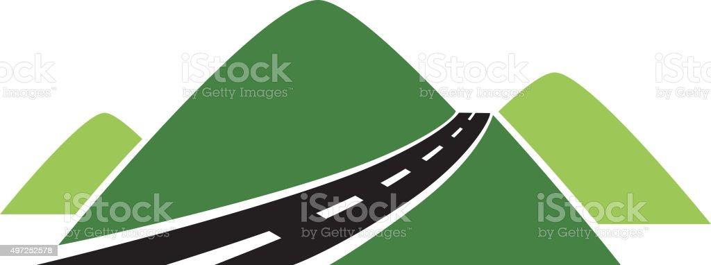 Mountain road vector art illustration
