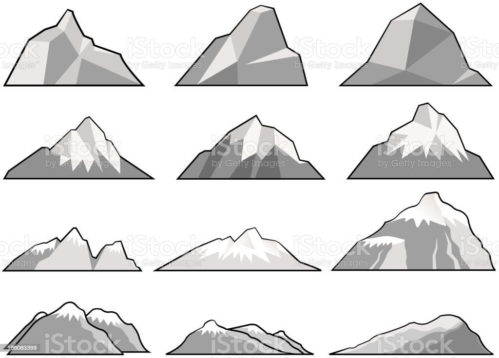 mountain set vector art illustration
