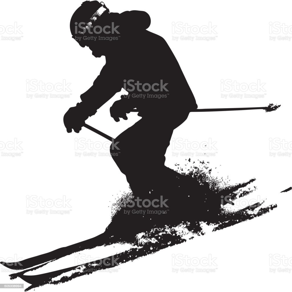 Mountain skier  speeding down slope. Vector sport silhouette. vector art illustration