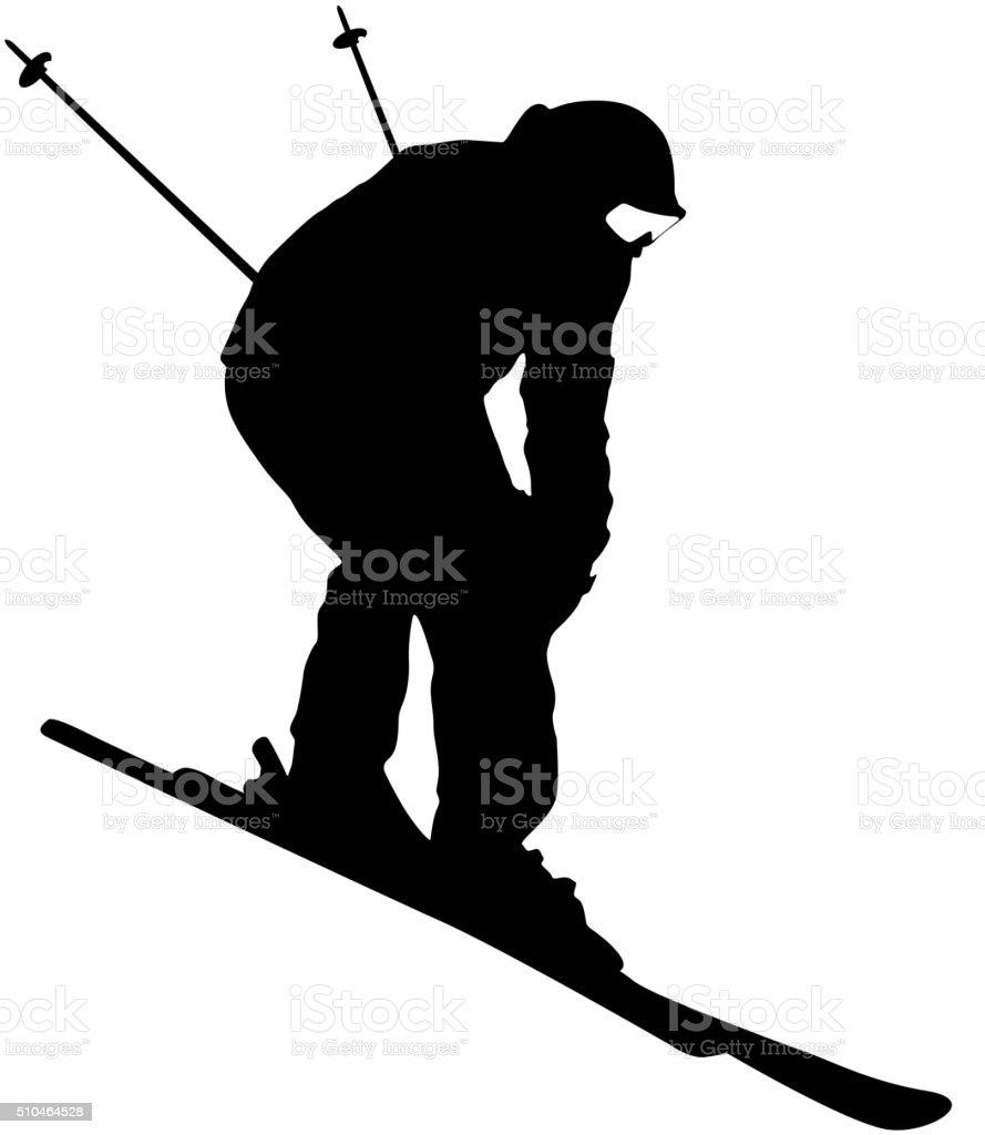 Mountain skier  speeding down slope. Vector sport silhouette. vector art illustration