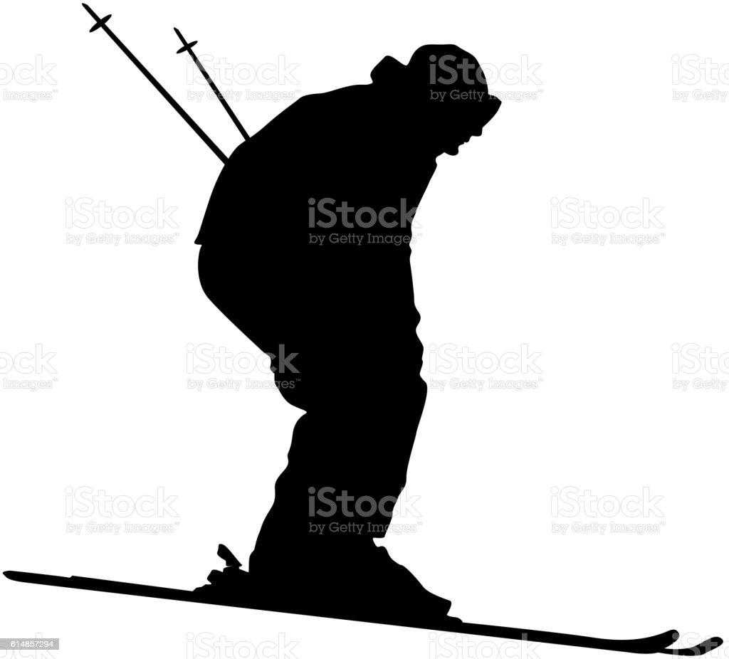 Mountain skier speeding down slope. Vector sport silhouette vector art illustration