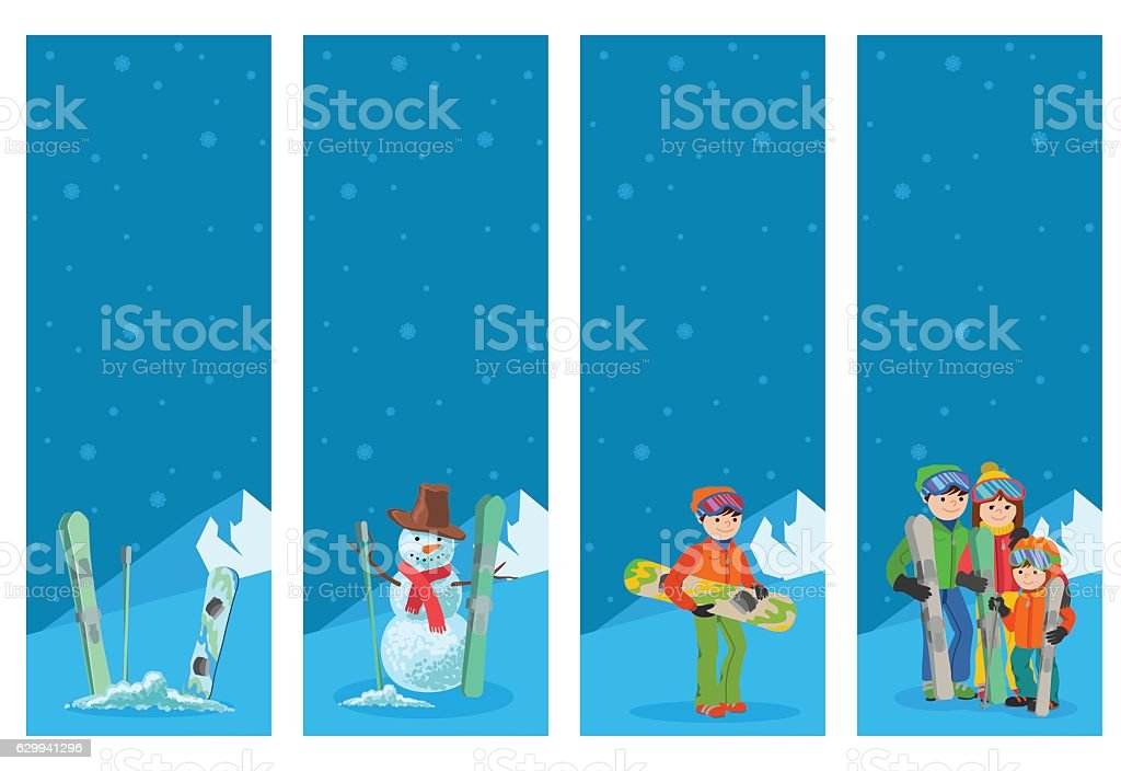 Mountain skier winter sport flyer design template. Snowboarding and...