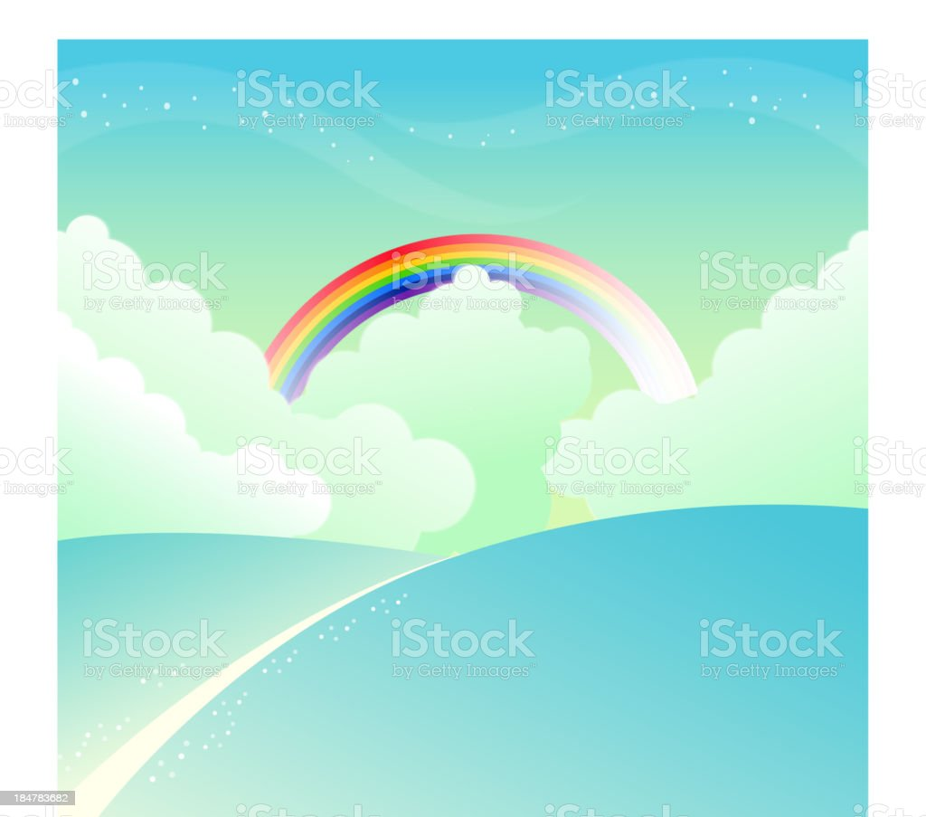 mountain slope and rainbow in sky royalty-free stock vector art