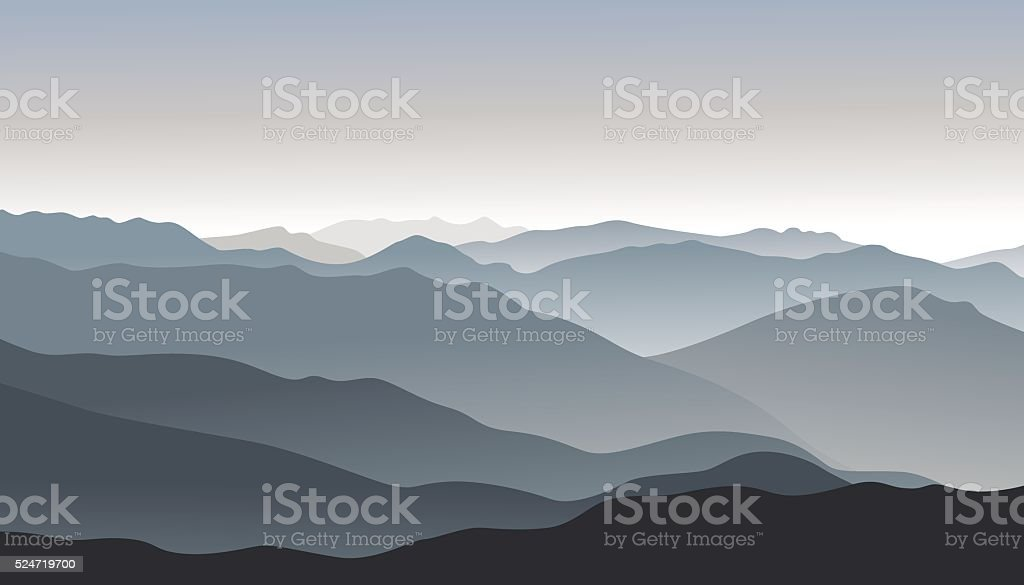 Mountain smoky morning landscape.Outdoor vector background. vector art illustration