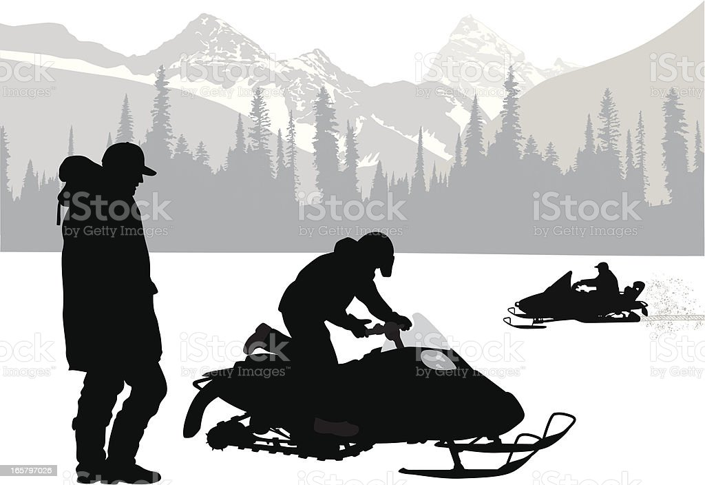 Mountain Snow Vector Silhouette vector art illustration