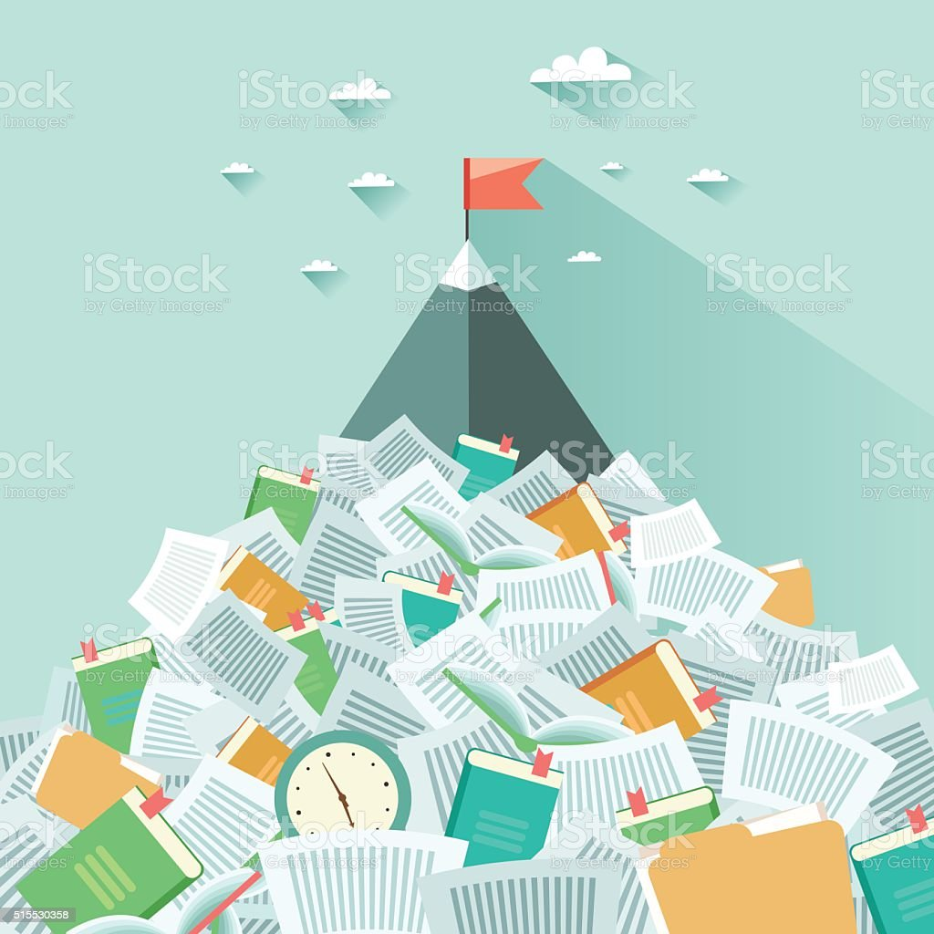 Mountain sticking out from a pile of book and papers vector art illustration