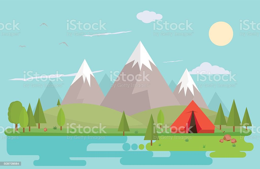 Mountain summer landscape vector art illustration