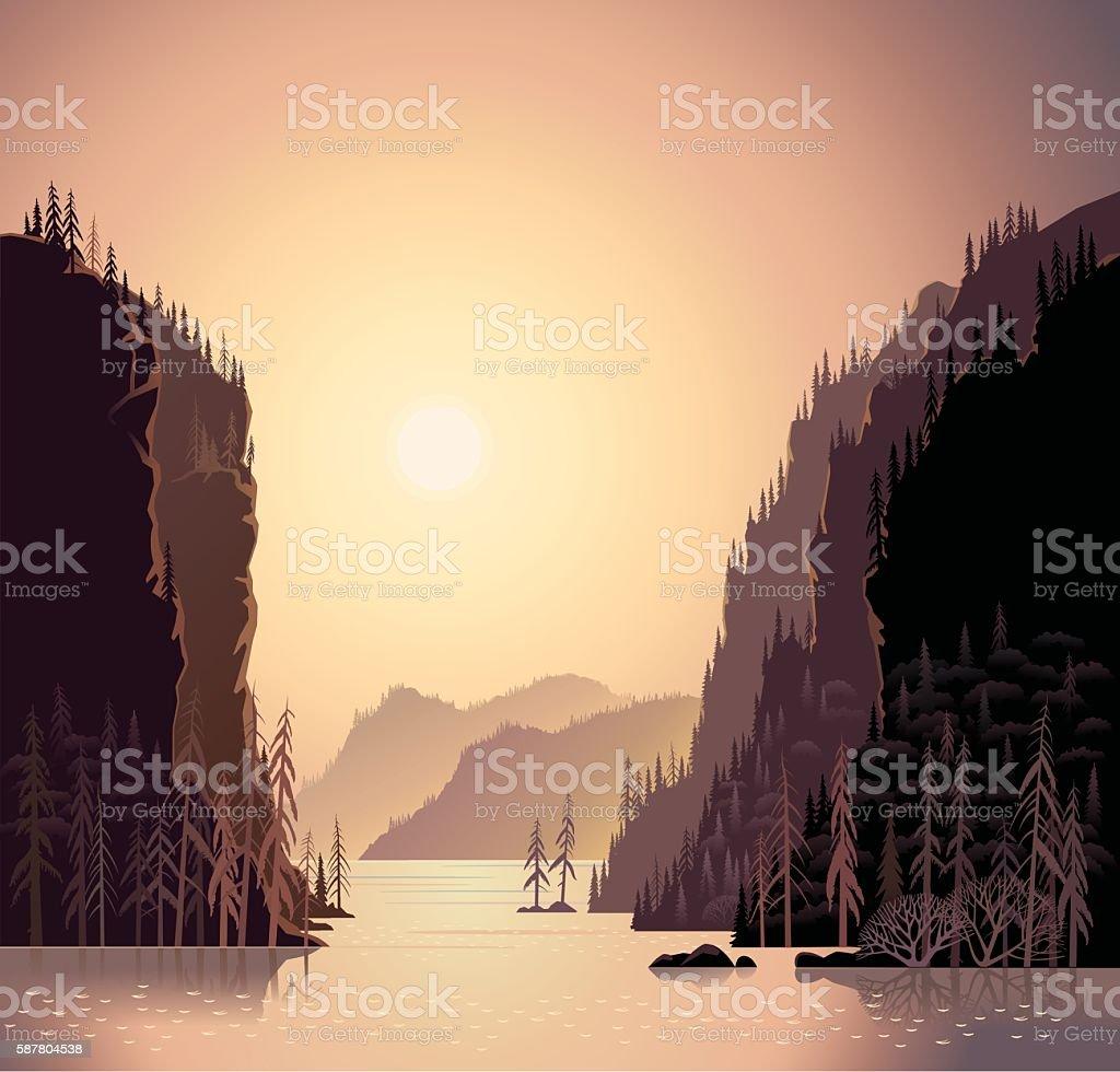 Mountain sunrise landscape. vector art illustration