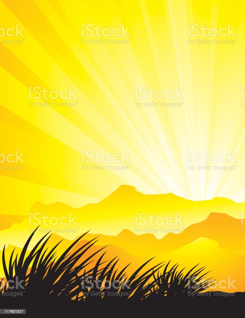 Mountain Sunset royalty-free stock vector art