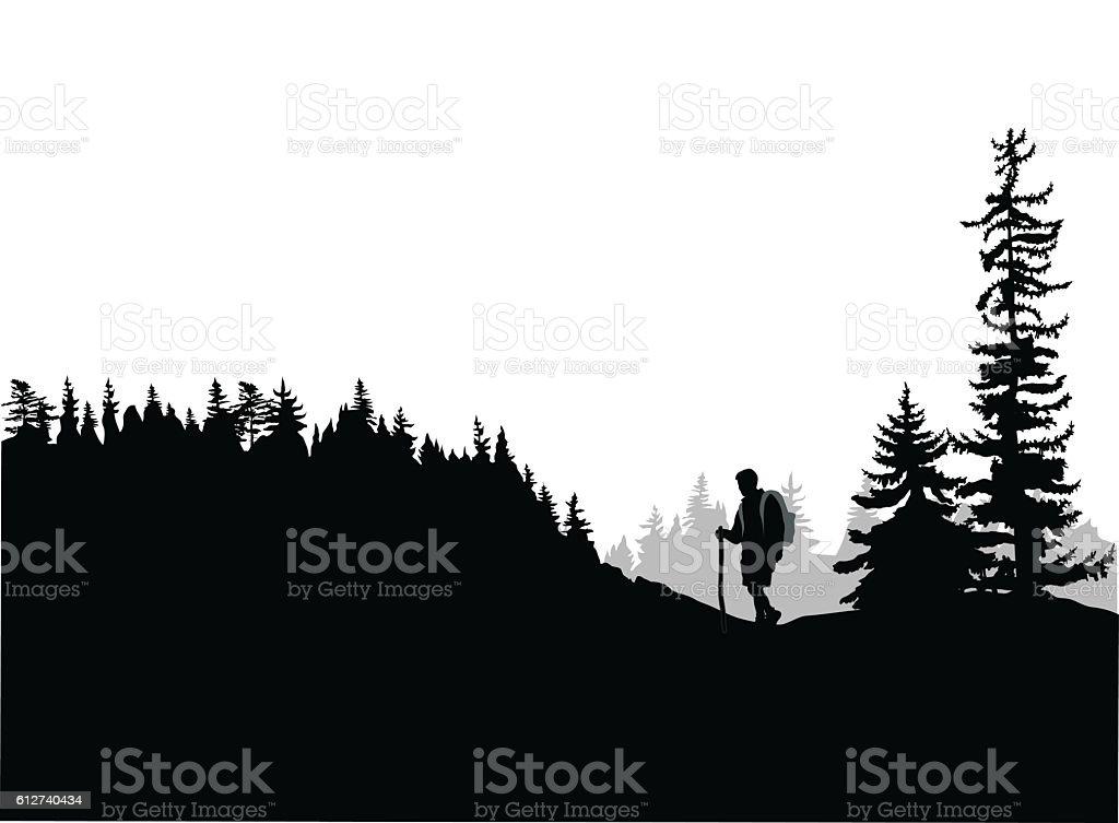 Mountain Top Hiking vector art illustration