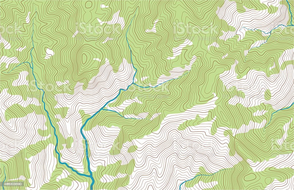 Mountain topographic map with forest and streams vector art illustration