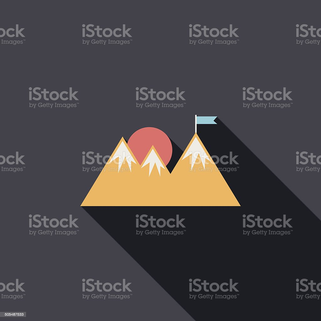 Mountain tourist flat icon with long shadow royalty-free stock vector art