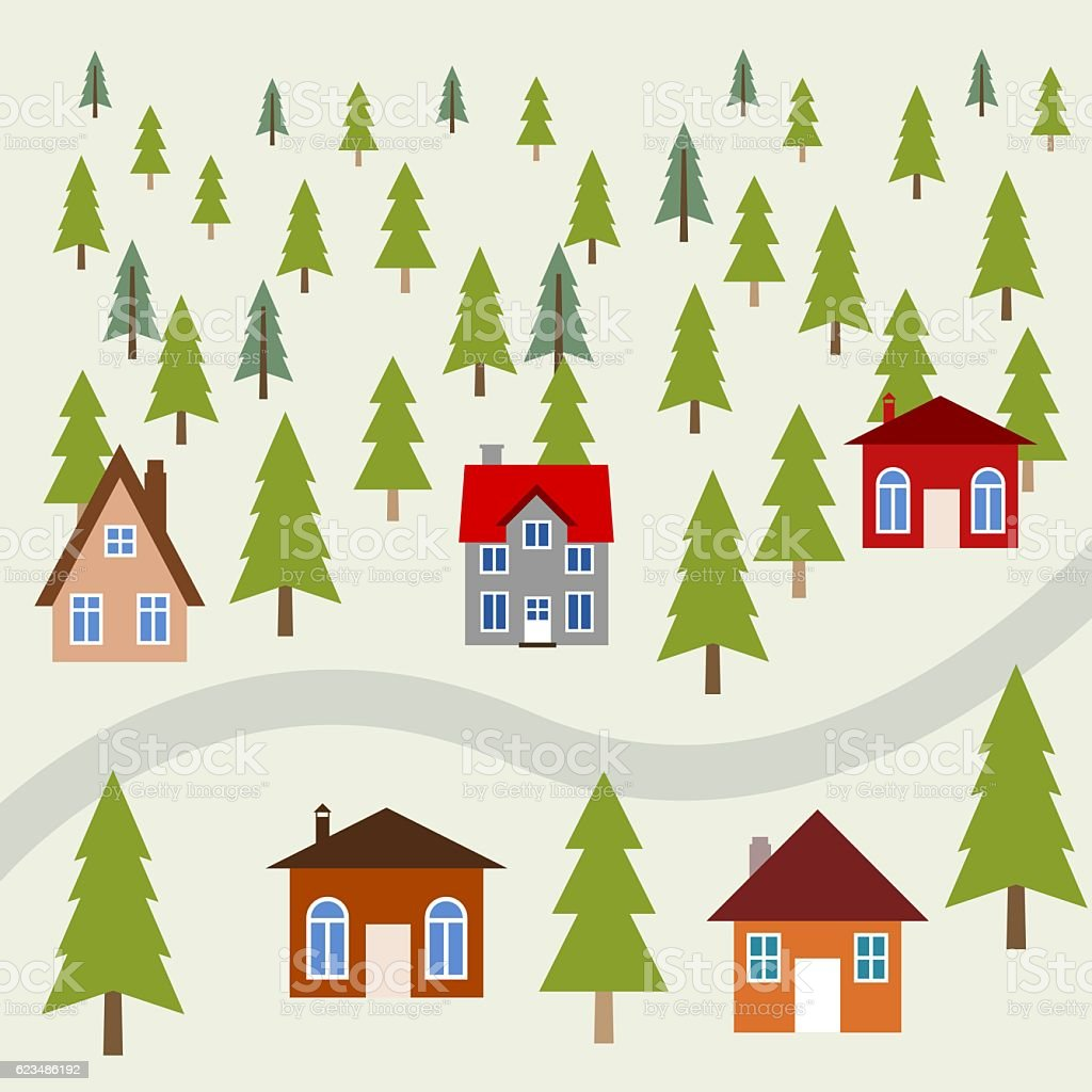 Mountain town vector art illustration